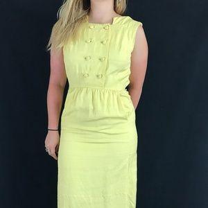 60s Yellow Sleeveless Day Dress